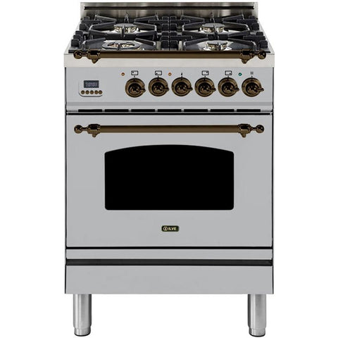 "Image of ILVE 24"" Nostalgie Series Dual Fuel Liquid Propane Range with Warming Drawer and Bronze Trim in Stainless Steel (UPN60DMPIYLP) - Shop For Kitchens"