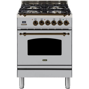 "ILVE 24"" Nostalgie Series Dual Fuel Liquid Propane Range with Warming Drawer and Bronze Trim in Stainless Steel (UPN60DMPIYLP) - Shop For Kitchens"