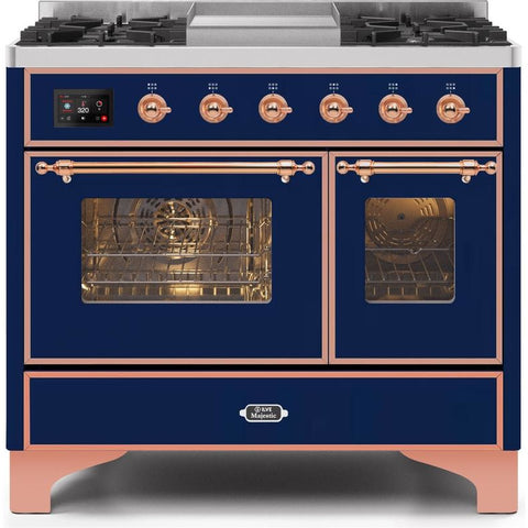 "Image of ILVE 40"" Majestic II Series Dual Fuel Natural Gas Range with 6 Sealed Burners and Griddle 3.82 cu. ft. Total Oven Capacity TFT Oven Control Display Copper Trim in Midnight Blue (UMD10FDNS3MBP) - Shop For Kitchens"