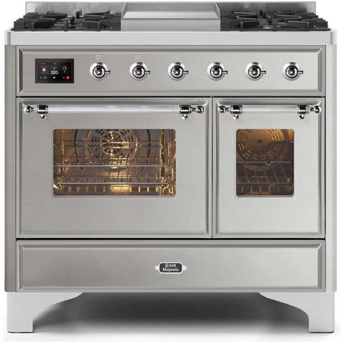 "Image of ILVE 40"" Majestic II Series Dual Fuel Liquid Propane Range with 6 Sealed Burners and Griddle 3.82 cu. ft. Total Oven Capacity TFT Oven Control Display Chrome Trim in Stainless Steel (UMD10FDNS3SSCLP) - Shop For Kitchens"