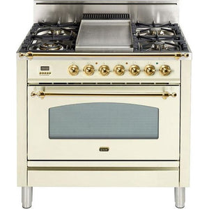 "ILVE 36"" Nostalgie Series Gas Range with 5 Burners Griddle 3.5 cu. ft. Oven Capacity Dishwarming Drawer Digital Clock and Timer Rotisserie  Brass Trim in Antique White (UPN90FDVGGALP) - Shop For Kitchens"