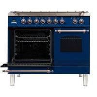 "ILVE 40"" Nostalgie Series Dual Fuel Liquid Propane Range with 5 Sealed Brass Burners 3.55 cu. ft. Total Capacity True Convection Oven Griddle with Bronze Trim in Blue (UPDN100FDMPBLYLP) - Shop For Kitchens"