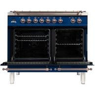 "Image of ILVE 40"" Nostalgie Series Dual Fuel Liquid Propane Range with 5 Sealed Brass Burners 3.55 cu. ft. Total Capacity True Convection Oven Griddle with Bronze Trim in Blue (UPDN100FDMPBLYLP) - Shop For Kitchens"