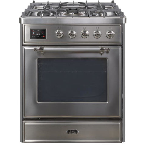 "Image of ILVE 30"" Majestic II Series Dual Fuel Natural Gas Range with 5 Burners 2.3 cu. ft. Oven Capacity TFT Oven Control Display Chrome Trim in Stainless Steel (UM30DNE3SSC) - Shop For Kitchens"