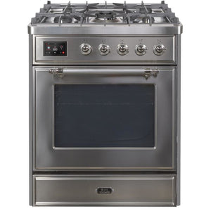 "ILVE 30"" Majestic II Series Dual Fuel Natural Gas Range with 5 Burners 2.3 cu. ft. Oven Capacity TFT Oven Control Display Chrome Trim in Stainless Steel (UM30DNE3SSC) - Shop For Kitchens"