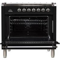 "ILVE 36"" Nostalgie Series Dual Fuel Liquid Propane Range with 5 Sealed Brass Burners 3 cu. ft. Capacity True Convection Oven with Chrome Trim in Glossy Black (UPN90FDMPNXLP) - Shop For Kitchens"