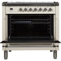 "Image of ILVE 36"" Nostalgie Series Dual Fuel Natural Gas Range with 5 Sealed Brass Burners 3 cu. ft. Capacity True Convection Oven with Chrome Trim in Antique White (UPN90FDMPAX) - Shop For Kitchens"