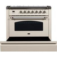 "Image of ILVE 36"" Nostalgie Series Dual Fuel Liquid Propane Range with Chrome Trim in Antique White (UPN90FDMPAXLP) - Shop For Kitchens"