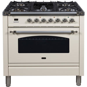 "ILVE 36"" Nostalgie Series Dual Fuel Natural Gas Range with 5 Sealed Brass Burners 3 cu. ft. Capacity True Convection Oven with Chrome Trim in Antique White (UPN90FDMPAX) - Shop For Kitchens"