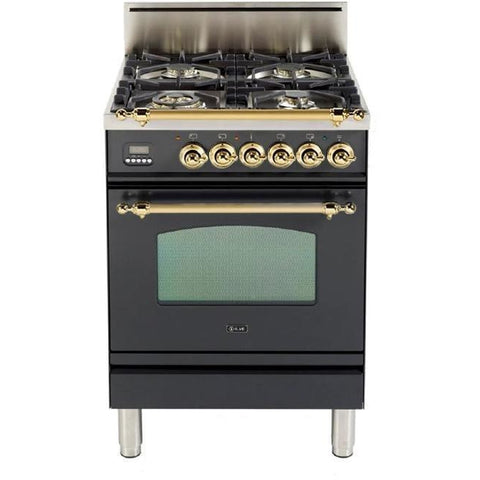 "Image of ILVE 24"" Nostalgie Series Gas Range with Warming Drawer and Brass Trim in Matte Graphite (UPN60DVGGMLP) - Shop For Kitchens"