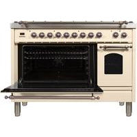 "Image of ILVE 48"" Nostalgie Series Dual Fuel Natural Gas Range with 7 Sealed Burners 5 cu. ft. Total Capacity True Convection Oven Griddle with Bronze Trim in Antique White (UPN120FDMPAY) - Shop For Kitchens"