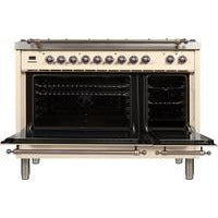 "Image of ILVE 48"" Nostalgie Series Dual Fuel Liquid Propane Range with 7 Sealed Burners 5 cu. ft. Total Capacity True Convection Oven Griddle with Bronze Trim in Antique White (UPN120FDMPAYLP) - Shop For Kitchens"