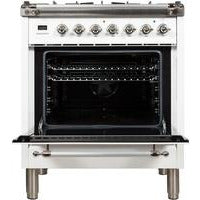 "ILVE 30"" Nostalgie Series Dual Fuel Natural Gas Range with 5 Sealed Burners 3 cu. ft. Capacity True Convection Oven with Chrome Trim in White (UPN76DMPBX) - Shop For Kitchens"
