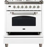 "Image of ILVE 30"" Nostalgie Series Dual Fuel Natural Gas Range with 5 Sealed Burners 3 cu. ft. Capacity True Convection Oven with Chrome Trim in White (UPN76DMPBX) - Shop For Kitchens"