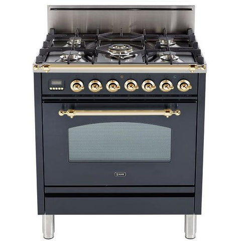 "Image of ILVE 30"" Freestanding Gas Range With Two 7000 BTU Semi-Rapid Burners Digital Clock Upper Handrail LP Kit Brass Trim & In Matte Graphite (UPN76DVGGM) - Shop For Kitchens"
