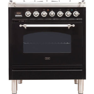 "ILVE 30"" Nostalgie Series Dual Fuel Natural Gas Range with 5 Sealed Burners 3 cu. ft. Capacity True Convection Oven with Chrome Trim in Glossy Black (UPN76DMPNX) - Shop For Kitchens"