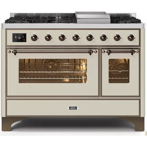 "ILVE 48"" Majestic II Dual Fuel Range with 8 Burners and Bronze Trim in Antique White (UM12FDNS3AWBLP) - Shop For Kitchens"