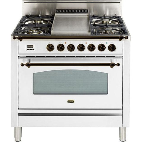 "Image of ILVE 36"" Nostalgie Series Gas Range with 5 Burners Griddle 3.5 cu. ft. Oven Capacity Dishwarming Drawer Digital Clock and Timer Rotisserie  Bronze Trim in True White (UPN90FDVGGBY) - Shop For Kitchens"