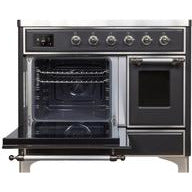 "ILVE 40"" Majestic II Series Induction Range with 6 Elements 3.82 cu. ft. Total Oven Capacity TFT Oven Control Display Chrome Trim in Matte Graphite (UMDI10NS3MGC) - Shop For Kitchens"