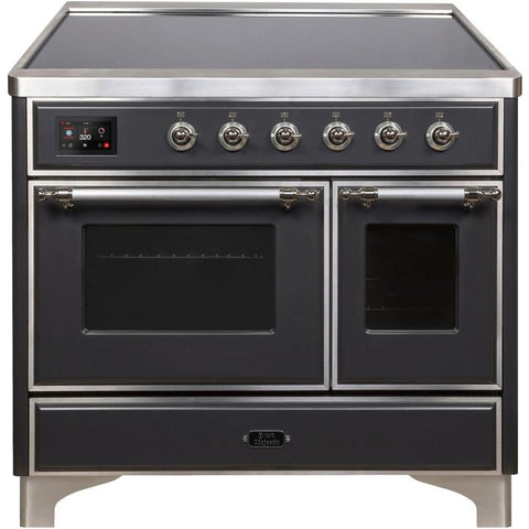 "Image of ILVE 40"" Majestic II Series Induction Range with 6 Elements 3.82 cu. ft. Total Oven Capacity TFT Oven Control Display Chrome Trim in Matte Graphite (UMDI10NS3MGC) - Shop For Kitchens"