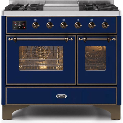 "Image of ILVE 40"" Majestic II Series Dual Fuel Natural Gas Range with 6 Sealed Burners and Griddle 3.82 cu. ft. Total Oven Capacity TFT Oven Control Display Bronze Trim in Midnight Blue (UMD10FDNS3MBB) - Shop For Kitchens"