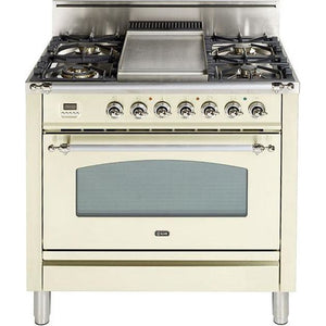 "ILVE 36"" Nostalgie Series Gas Range with 5 Burners Griddle 3.5 cu. ft. Oven Capacity Dishwarming Drawer Digital Clock and Timer Rotisserie  Chrome Trim in Antique White (UPN90FDVGGAXLP) - Shop For Kitchens"