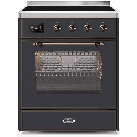 "Image of ILVE 30"" Majestic II Induction Range with Bronze Trim in Matte Graphite (UMI30NE3MGB) - Shop For Kitchens"
