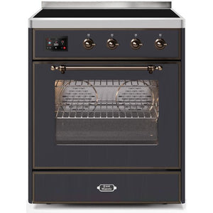 "ILVE 30"" Majestic II Induction Range with Bronze Trim in Matte Graphite (UMI30NE3MGB) - Shop For Kitchens"