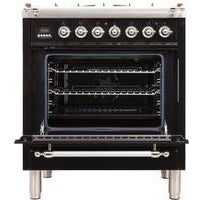 "Image of ILVE 30"" Nostalgie Series Dual Fuel Liquid Propane Range with 5 Sealed Burners 3 cu. ft. Capacity True Convection Oven with Chrome Trim in Glossy Black (UPN76DMPNXLP) - Shop For Kitchens"