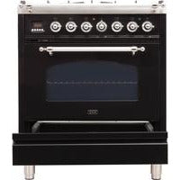 "ILVE 30"" Nostalgie Series Dual Fuel Liquid Propane Range with 5 Sealed Burners 3 cu. ft. Capacity True Convection Oven with Chrome Trim in Glossy Black (UPN76DMPNXLP) - Shop For Kitchens"
