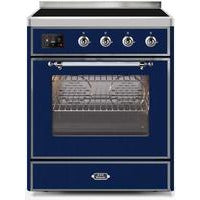 "Image of ILVE 30"" Majestic II Induction Range with Chrome Trim in Midnight Blue (UMI30NE3MBC) - Shop For Kitchens"