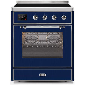 "ILVE 30"" Majestic II Induction Range with Chrome Trim in Midnight Blue (UMI30NE3MBC) - Shop For Kitchens"