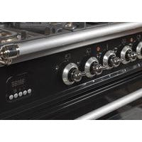 "ILVE 36"" Nostalgie Series Gas Range with 5 Burners Griddle 3.5 cu. ft. Oven Capacity Dishwarming Drawer Digital Clock and Timer Rotisserie  Chrome Trim in Gloss Black (UPN90FDVGGNXLP) - Shop For Kitchens"