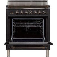 "Image of ILVE 30"" Nostalgie Series Freestanding Gas Range with 5 Burners 3 cu. ft. Oven Capacity Digital Clock and Timer Full Width Warming Drawer 2 Oven Racks and Oiled Bronze Trim: Matte Graphite (UPN76DVGGMY) - Shop For Kitchens"