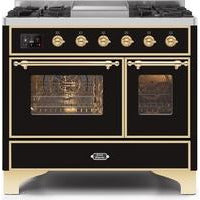 "ILVE 40"" Majestic II Series Dual Fuel Natural Gas Range with 6 Sealed Burners and Griddle 3.82 cu. ft. Total Oven Capacity TFT Oven Control Display Brass Trim in Glossy Black (UMD10FDNS3BKG) - Shop For Kitchens"