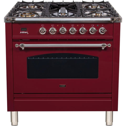 "Image of ILVE 36"" Nostalgie Series Dual Fuel Natural Gas Range with 5 Sealed Brass Burners 3 cu. ft. Capacity True Convection Oven with Chrome Trim in Burgundy (UPN90FDMPRBX) - Shop For Kitchens"