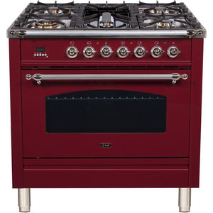 "ILVE 36"" Nostalgie Series Dual Fuel Natural Gas Range with 5 Sealed Brass Burners 3 cu. ft. Capacity True Convection Oven with Chrome Trim in Burgundy (UPN90FDMPRBX) - Shop For Kitchens"