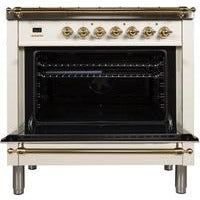 "ILVE 36"" Nostalgie Series Dual Fuel Natural Gas Range with 5 Sealed Brass Burners 3 cu. ft. Capacity True Convection Oven with Brass Trim in Antique White (UPN90FDMPA) - Shop For Kitchens"