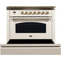 "Image of ILVE 36"" Nostalgie Series Dual Fuel Liquid Propane Range with 5 Sealed Brass Burners 3 cu. ft. Capacity True Convection Oven with Brass Trim in Antique White (UPN90FDMPALP) - Shop For Kitchens"