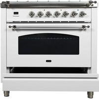 "ILVE 36"" Nostalgie Series Dual Fuel Liquid Propane Range with 5 Sealed Brass Burners 3 cu. ft. Capacity True Convection Oven with Chrome Trim in White (UPN90FDMPBXLP) - Shop For Kitchens"