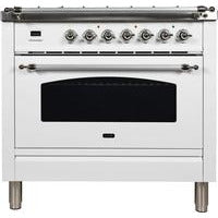 "Image of ILVE 36"" Nostalgie Series Dual Fuel Liquid Propane Range with 5 Sealed Brass Burners 3 cu. ft. Capacity True Convection Oven with Chrome Trim in White (UPN90FDMPBXLP) - Shop For Kitchens"