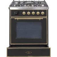 "ILVE 30"" Majestic II Series Dual Fuel Natural Gas Range with Brass Trim in Glossy Black (UM30DNE3BKG) - Shop For Kitchens"