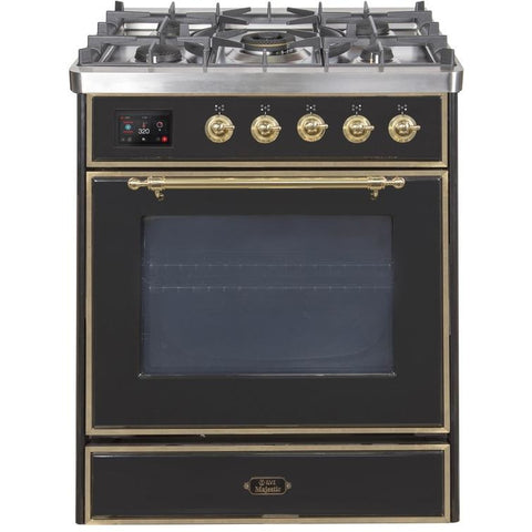 "Image of ILVE 30"" Majestic II Series Dual Fuel Natural Gas Range with Brass Trim in Glossy Black (UM30DNE3BKG) - Shop For Kitchens"