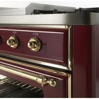 "Image of ILVE 48"" Majestic II Dual Fuel Range with 8 Burners and Chrome Trim in Burgundy (UM12FDNS3BUC) - Shop For Kitchens"