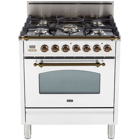 "Image of ILVE 30"" Nostalgie Series Freestanding Gas Range with 5 Burners 3 cu. ft. Oven Capacity Digital Clock and Timer Full Width Warming Drawer 2 Oven Racks and Oiled Bronze Trim: True White (UPN76DVGGBYLP) - Shop For Kitchens"