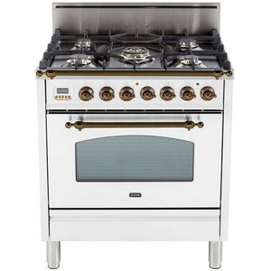 "ILVE 30"" Nostalgie Series Freestanding Gas Range with 5 Burners 3 cu. ft. Oven Capacity Digital Clock and Timer Full Width Warming Drawer 2 Oven Racks and Oiled Bronze Trim: True White (UPN76DVGGBYLP) - Shop For Kitchens"