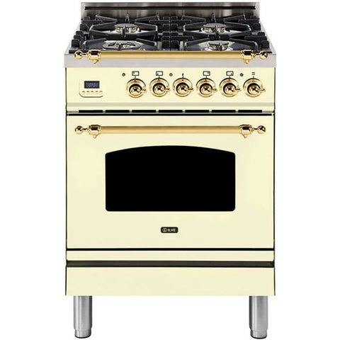 "Image of ILVE 24"" Nostalgie Series Freestanding Dual Fuel Liquid Propane Range with 4 Sealed Burners 2.44 cu. ft. Oven Capacity Cast Iron Grates Warming Drawer Brass Trim in Antique White (UPN60DMPALP) - Shop For Kitchens"