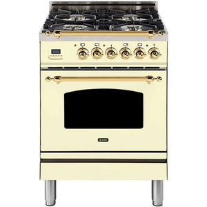 "ILVE 24"" Nostalgie Series Freestanding Dual Fuel Liquid Propane Range with 4 Sealed Burners 2.44 cu. ft. Oven Capacity Cast Iron Grates Warming Drawer Brass Trim in Antique White (UPN60DMPALP) - Shop For Kitchens"