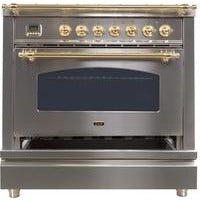 "Image of ILVE 36"" Nostalgie Series Gas Range with 5 Burners Griddle 3.5 cu. ft. Oven Capacity Dishwarming Drawer Digital Clock and Timer Rotisserie  Brass Trim in Stainless Steel (UPN90FDVGGILP) - Shop For Kitchens"