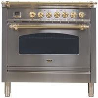 "ILVE 36"" Nostalgie Series Gas Range with 5 Burners Griddle 3.5 cu. ft. Oven Capacity Dishwarming Drawer Digital Clock and Timer Rotisserie  Brass Trim in Stainless Steel (UPN90FDVGGILP) - Shop For Kitchens"